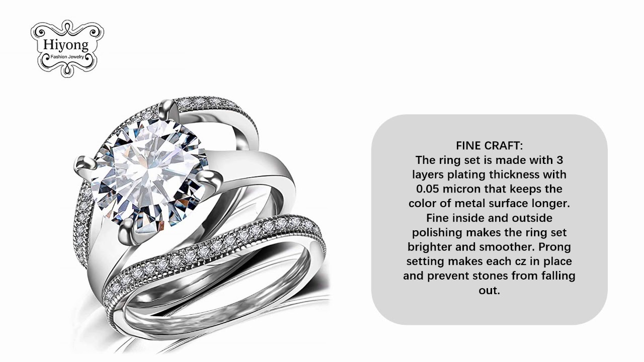 Round Cut Cubic Zirconia Rings Women Engagement Ring Set With