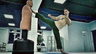 Удар вертушка | Удары ногами в прыжке | Тренировка в зале | Экшн каскадеры Трюкачи