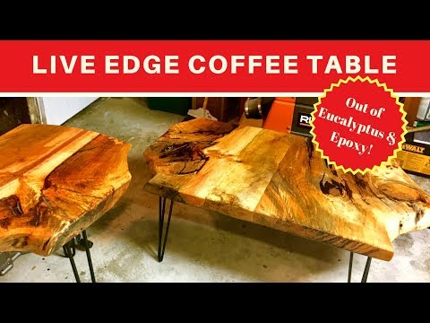 DIY - Woodworking - Live Edge Coffee Table - Colored Epoxy