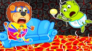 Lion Family | The Floor is Lava | Cartoon for Kids