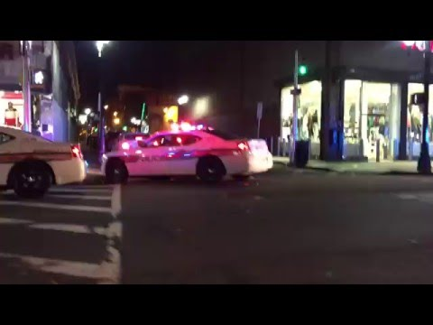 QUICK GLIMPSE OF 3 RUTGERS UNIVERSITY POLICE DEPARTMENT CRUISERS DOING A TRAFFIC STOP IN NEWARK.