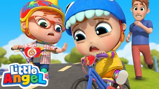 Learn To Ride A Bike | Playing Safely | Little Angel Kids Songs