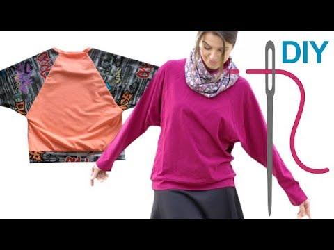 Jerseyshirt / Sweatshirt / Shirt / mit Fledermausärmeln \