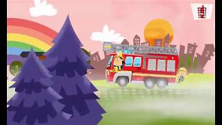Fire truck cartoon/How the fireman saved the cat/game for childrens