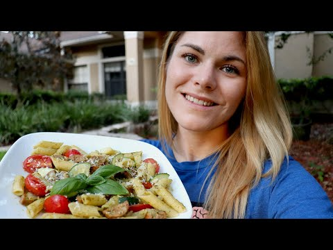 Brown Rice Quinoa Pesto Pasta with Italian Chicken Sausage Recipes for Endurance Athletes