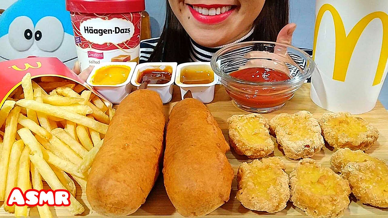 Eating Corn Dogs Mcdonalds Chicken Nuggets French Fries Haagen Dazs Ice Cream Asmr Real Sounds