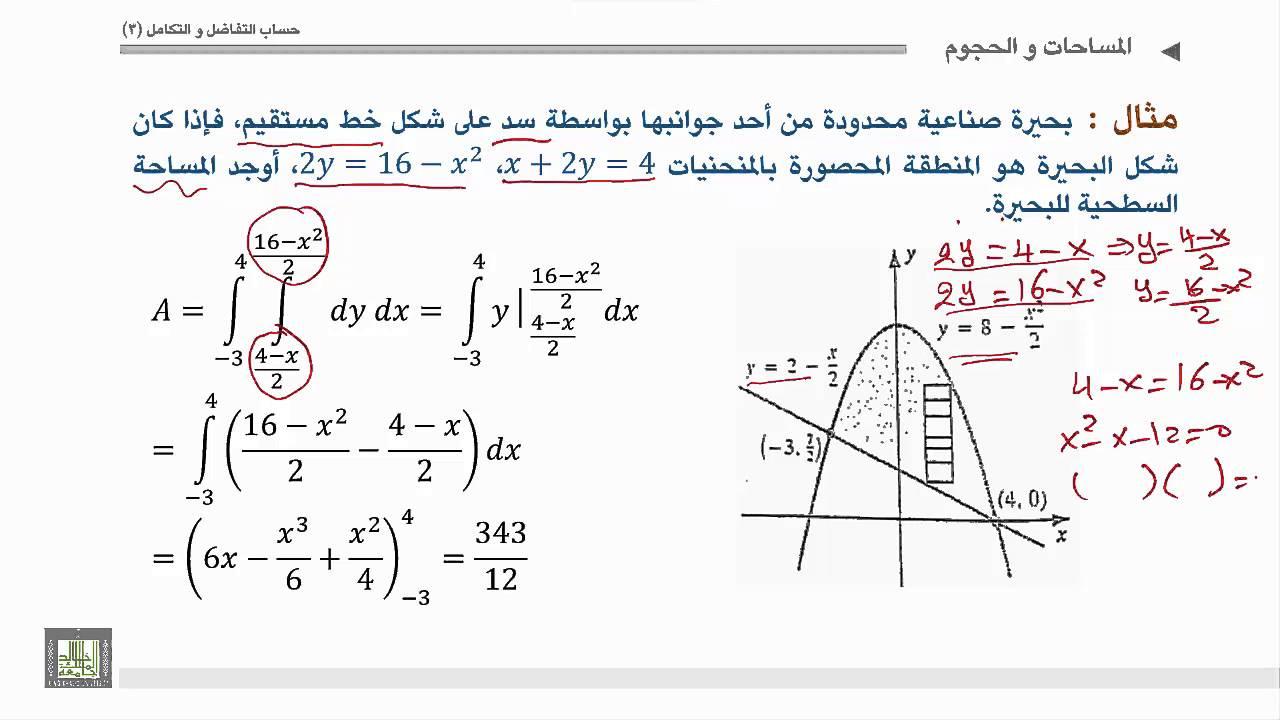 حساب التفاضل والتكامل 3 | الوحدة 2 | تطبيقات التكاملات المتعددة حساب مساحة منطقة محصورة بين منحنيات