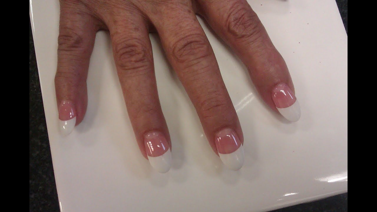Acrylic Gel Nails White Oval Tips Part 1 - YouTube