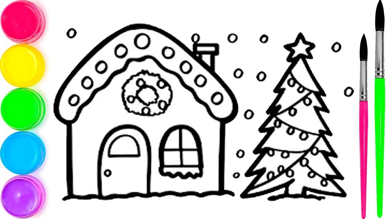 Pelajari Menggambar Dan Mewarnai Rumah Natal Dengan Pohon Untuk Anak Anak