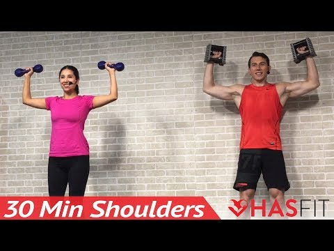 30 Min Home Shoulder Workout Routine for Women & Men with Dumbbells - Deltoid & Shoulders Exercises