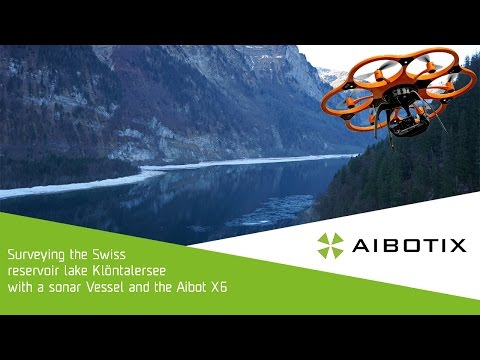 Drone surveying the Swiss reservoir lake Klöntalersee with the Aibot X6 UAV