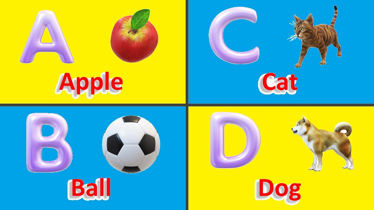 A for apple Nursery Rhymes - 3D Animation English alphabet ABC songs for children