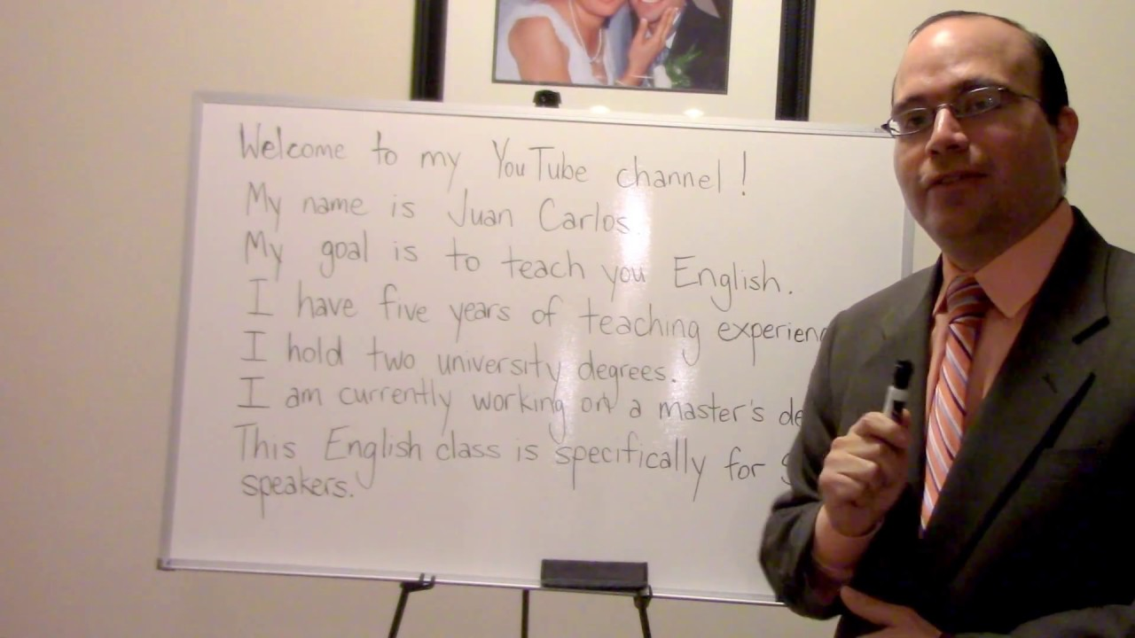 Juancarlosesl clase 1 english for spanish speakers beginning level introductory video