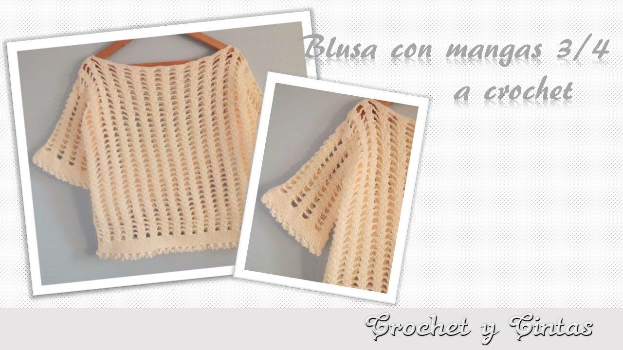Blusa trenzada con mangas 3 4 tejida a crochet ganchillo - Como hacer colcha de ganchillo ...