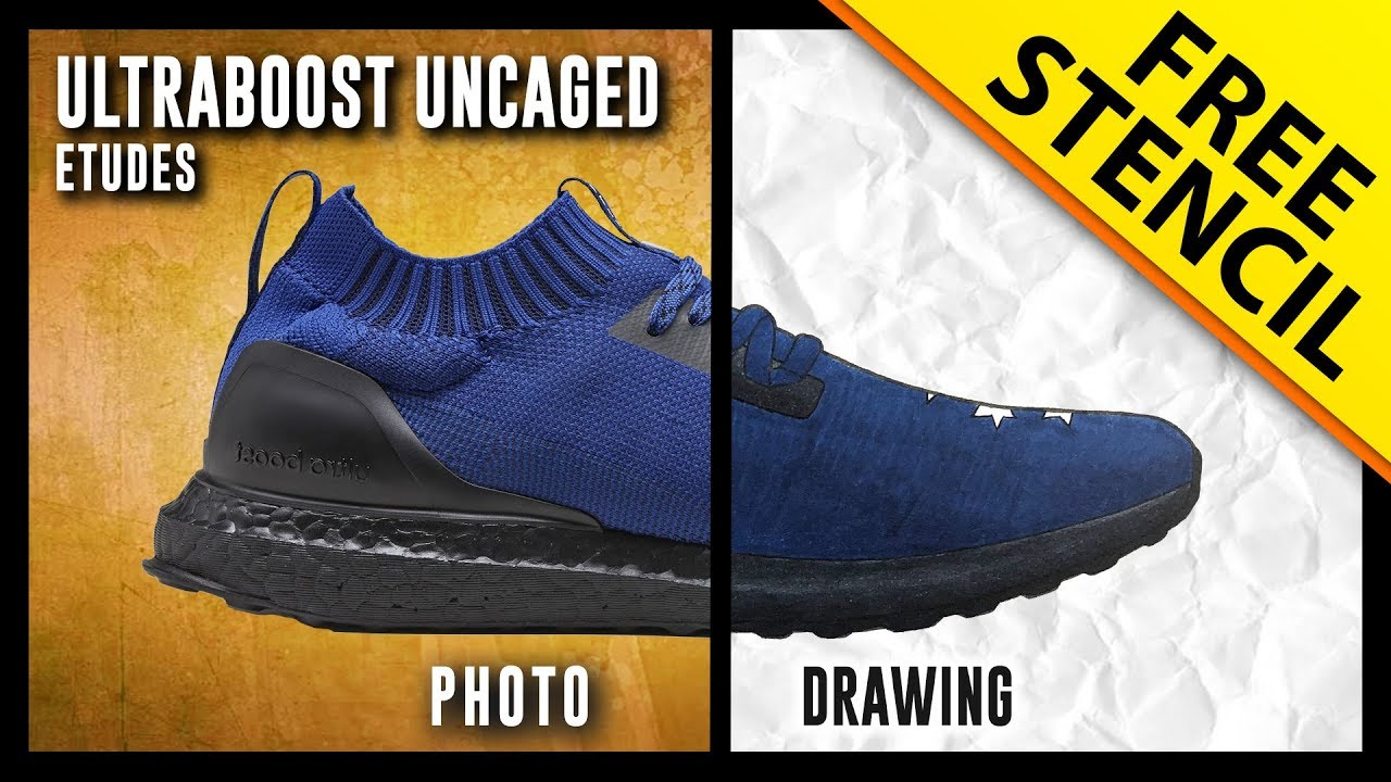 37243e4feb223 Études x Adidas Ultra Boost Uncaged - Sneaker Drawing w  FREE Stencil