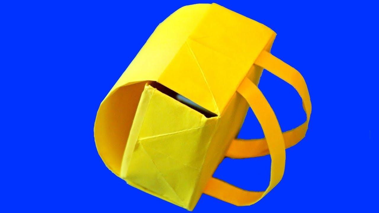 Как сделать портфель/рюкзак из бумаги. Оригами. How to make paper.
