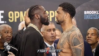 DEONTAY WILDER & DOMINIC BREAZEALE GIVE EACH OTHER COLD STARES DURING WEIGH IN FACE OFF - FULL VIDEO