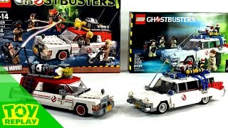 LEGO Ecto-1 Comparison Toy Review | Ghostbusters 2016 1984 2014 Minifigures and Vehicles #ToyReplay