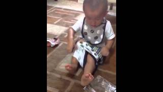 Toddler putting on underwear
