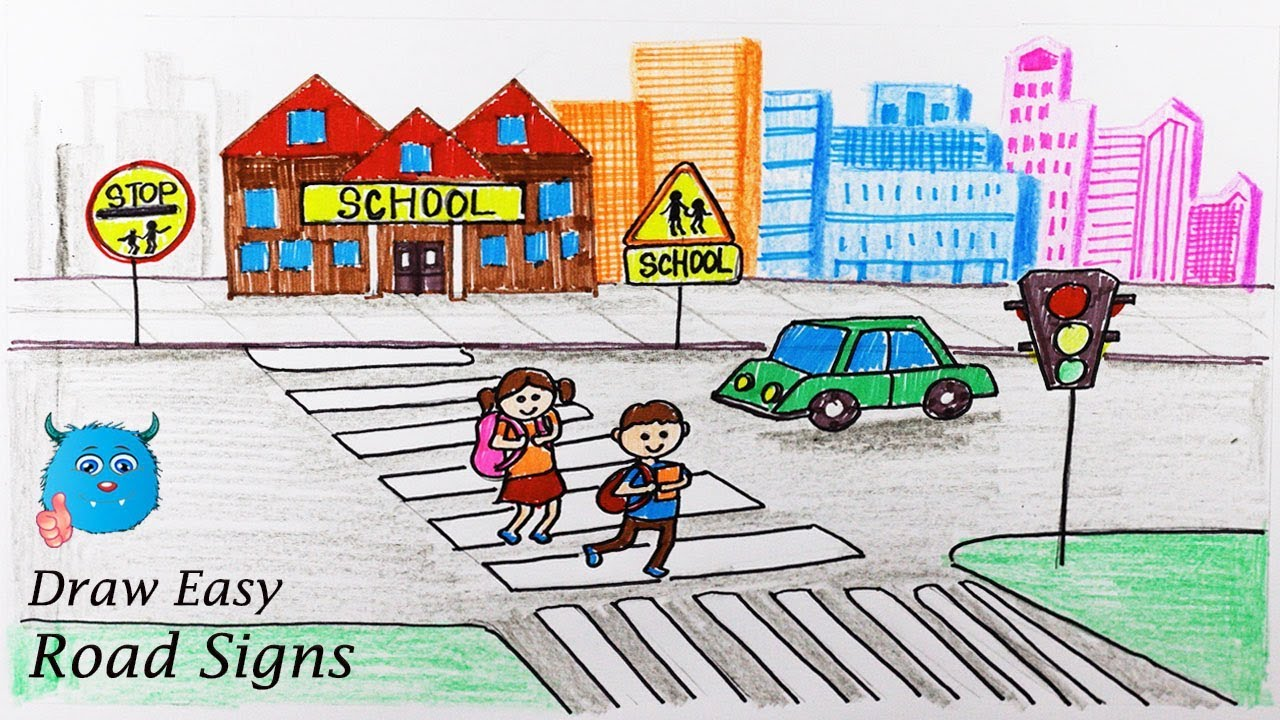 How To Draw City Road Safety Drawing For School Kids Youtube
