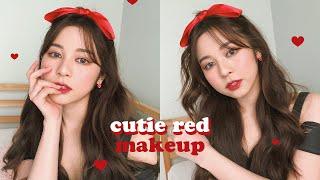 🍒CUTIE RED MAKEUP แต่งหน้าโทนแดงให้เป็นความสดใสของโลกใบนี้! | Babyjingko