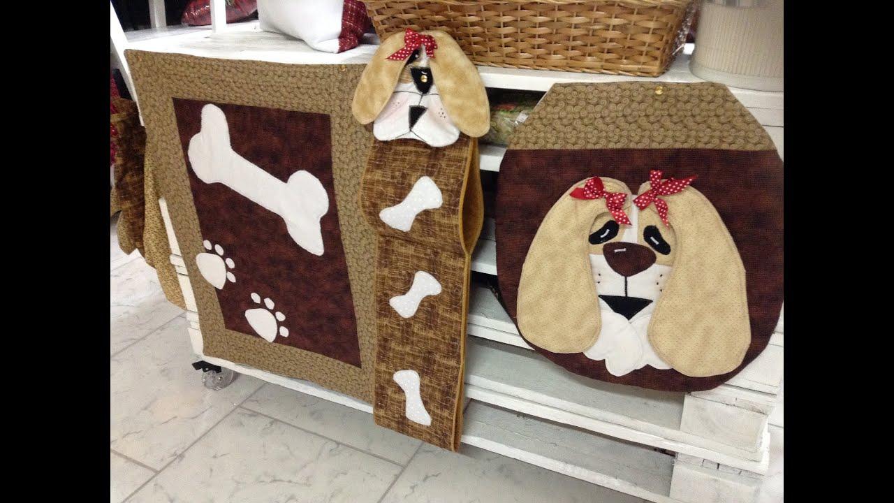 Como fazer jogo para banheiro de cachorro no artesanato costurado com  #99323A 2592x1936 Banheiro De Cachorro Funciona