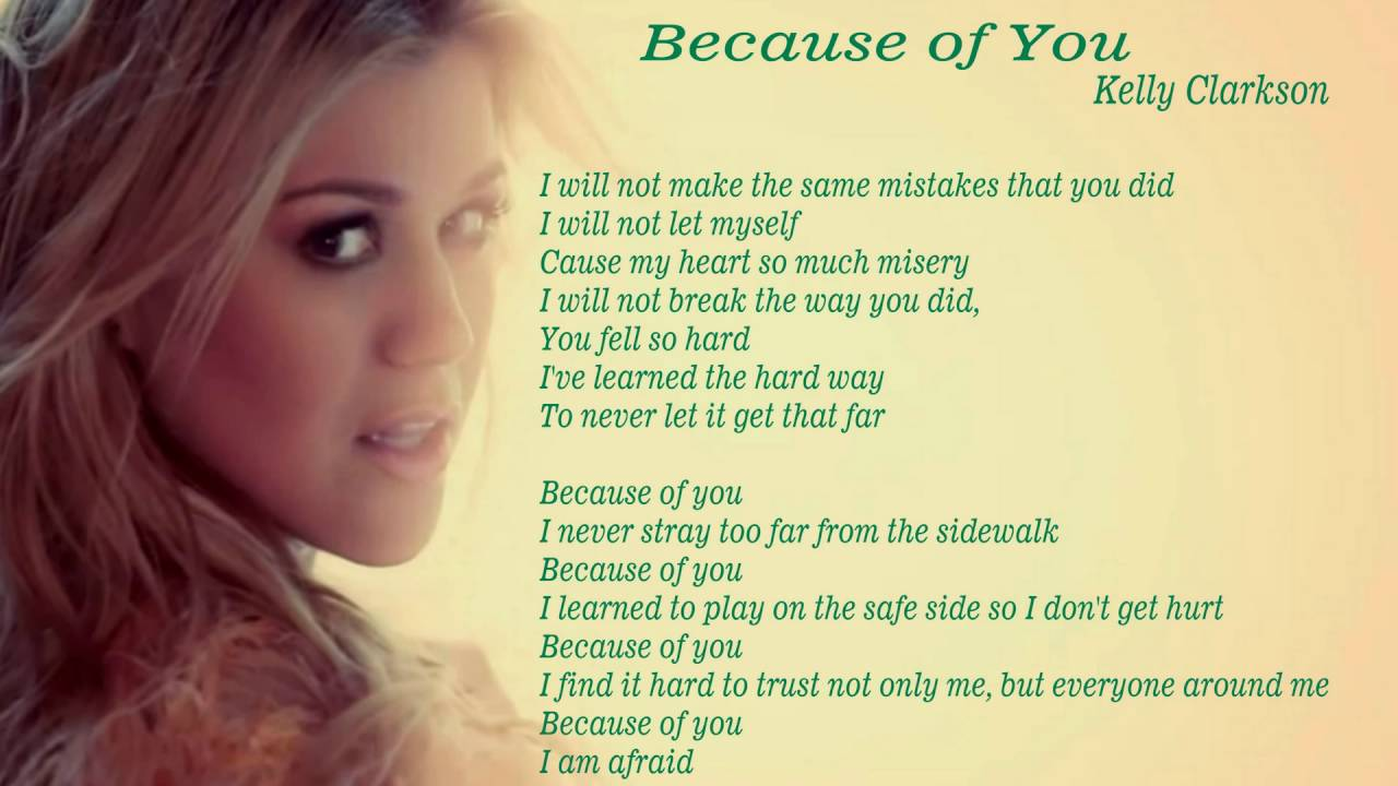BECAUSE OF YOU Chords - Kelly Clarkson | E-Chords