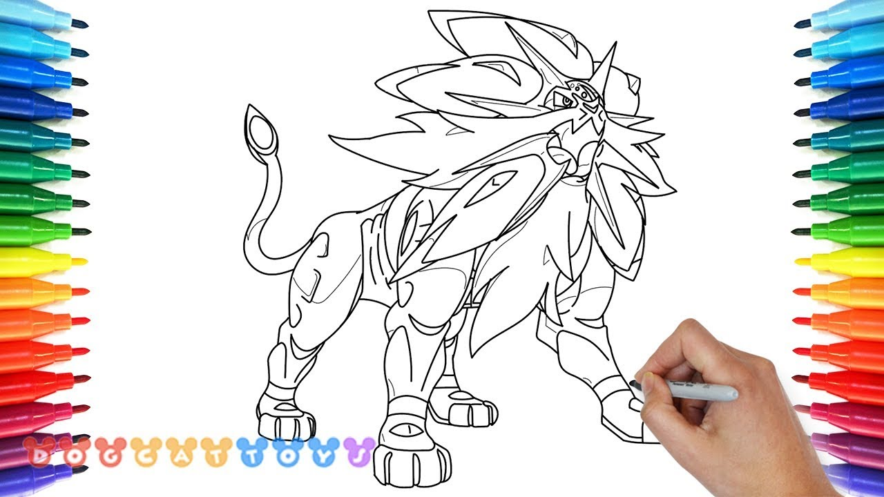 How to Draw Solgaleo Legendary Pokemon Sun  Drawing Coloring Pages for Kids
