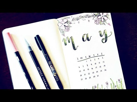 Plan With Me May 2018 | Simple Floral Theme | Bullet Journal Setup