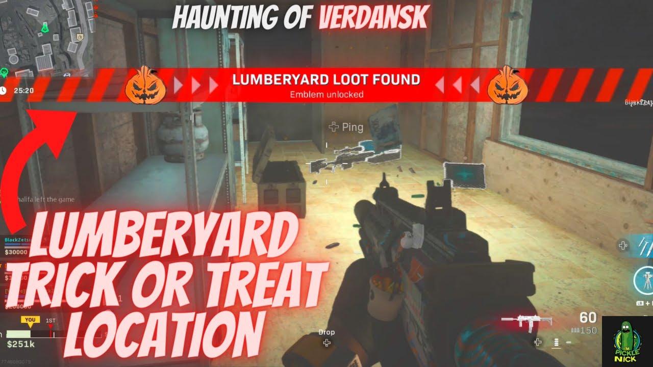 Lumberyard Trick Or Treat Challenge Location Warzone Halloween Event Haunting Of Verdansk Challenge Youtube