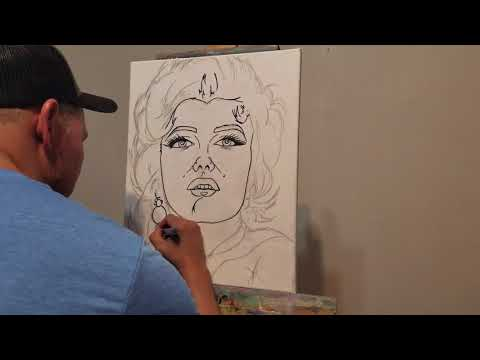 como hacer a Marilyn Monroe arte pop, acrilicos liquitex. video 1#