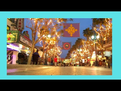 The famous Santa Monica promenade at night, California (USA)