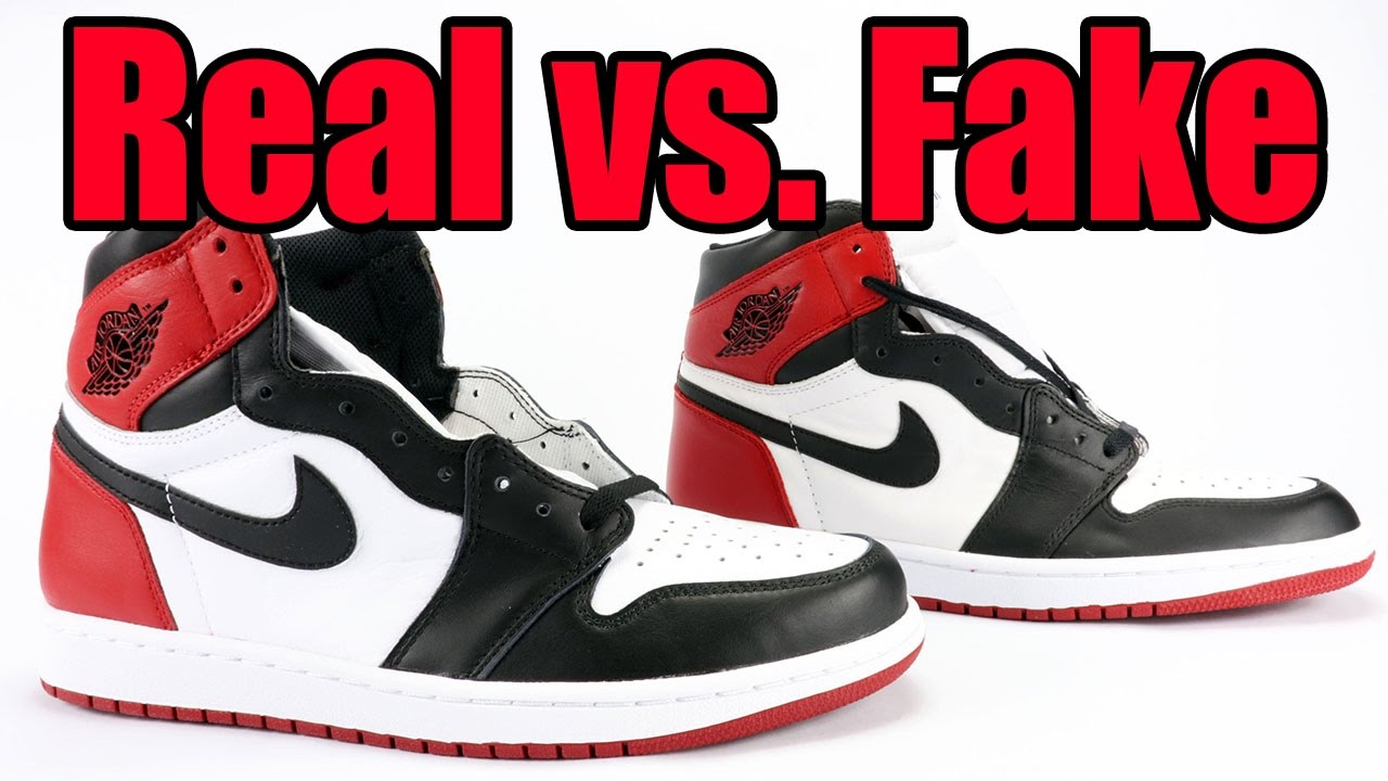 8066b98d1a5987 Real vs Fake Air Jordan 1 Black Toe 2016 Legit Check - YouTube