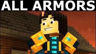 All Armors - Minecraft: Story Mode Season 2 Episode 4: Below The Bedrock (Telltale Series)