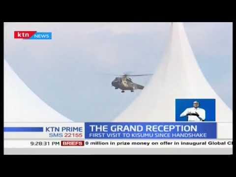 President Uhuru Kenyatta receives grand reception in historic Kisumu visit