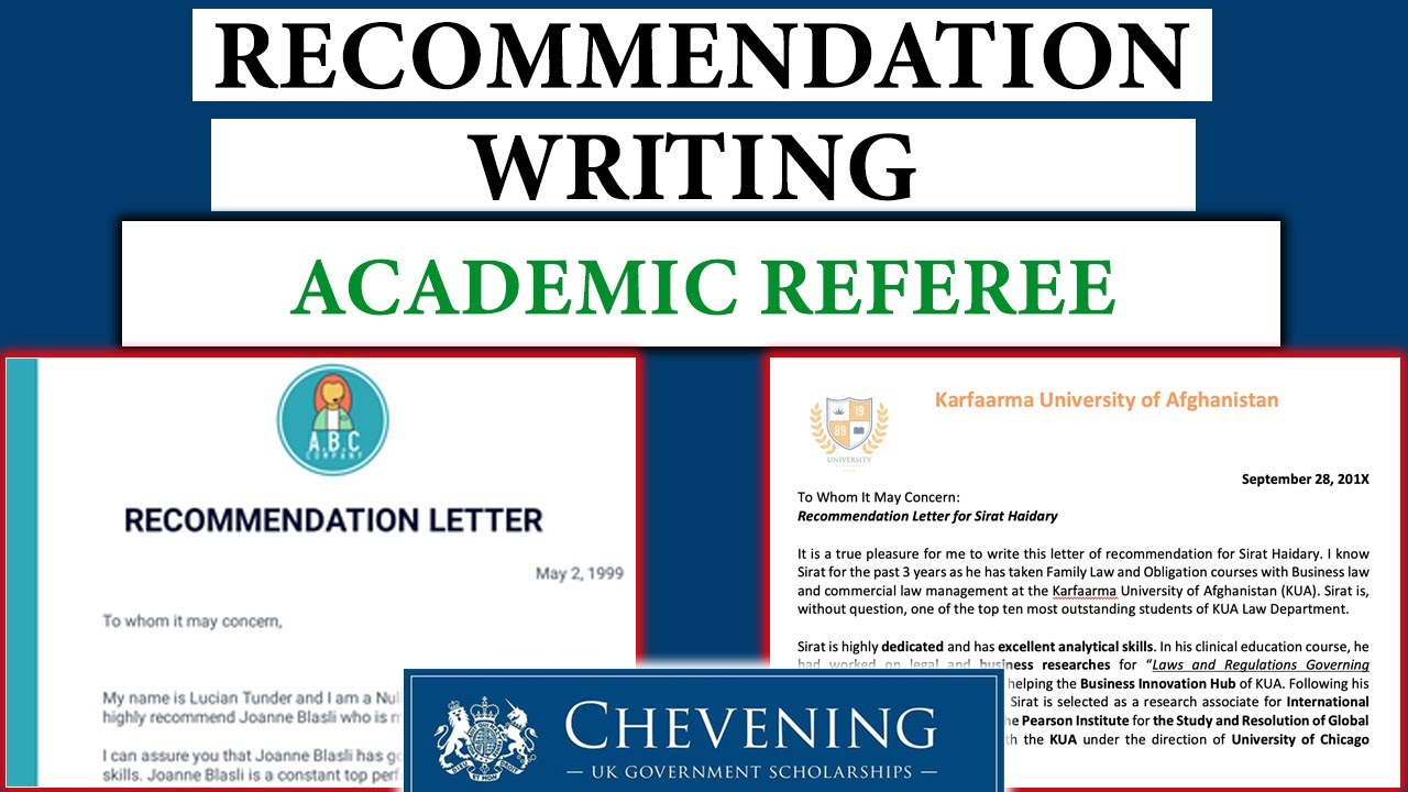 Academic Reference Letter Writing For Chevening Other Scholarship Programs Youtube