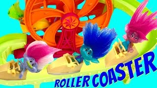 Repeat youtube video Trolls Movie Poppy Branch Ride & Get Trapped on a Roller Coaster at Amusement Park!