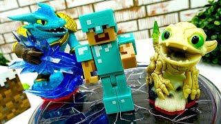 Обзор игры Скайлендер со Стивом Майнкрафт. Видео с игрушками.