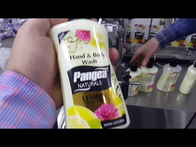 Pangea hand wash soap bottle double face labeling