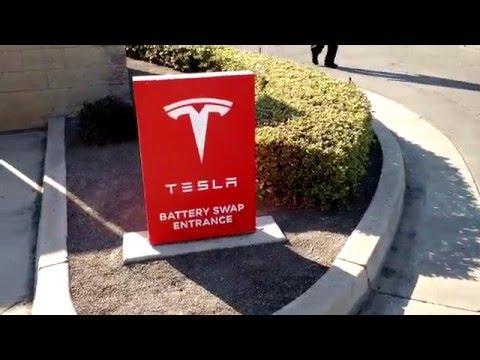 Peek at Tesla battery swap station @ Harris Ranch