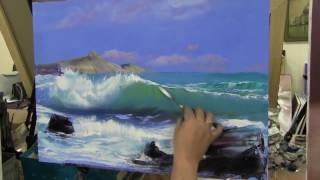 Пишем морской пейзаж, море кисточкой, мастихином   урок Игоря Сахарова 1