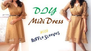 Download DIY Midi Dress With Ruffle Sleeves Cutting And Stitching Turorial Mp3 and Videos