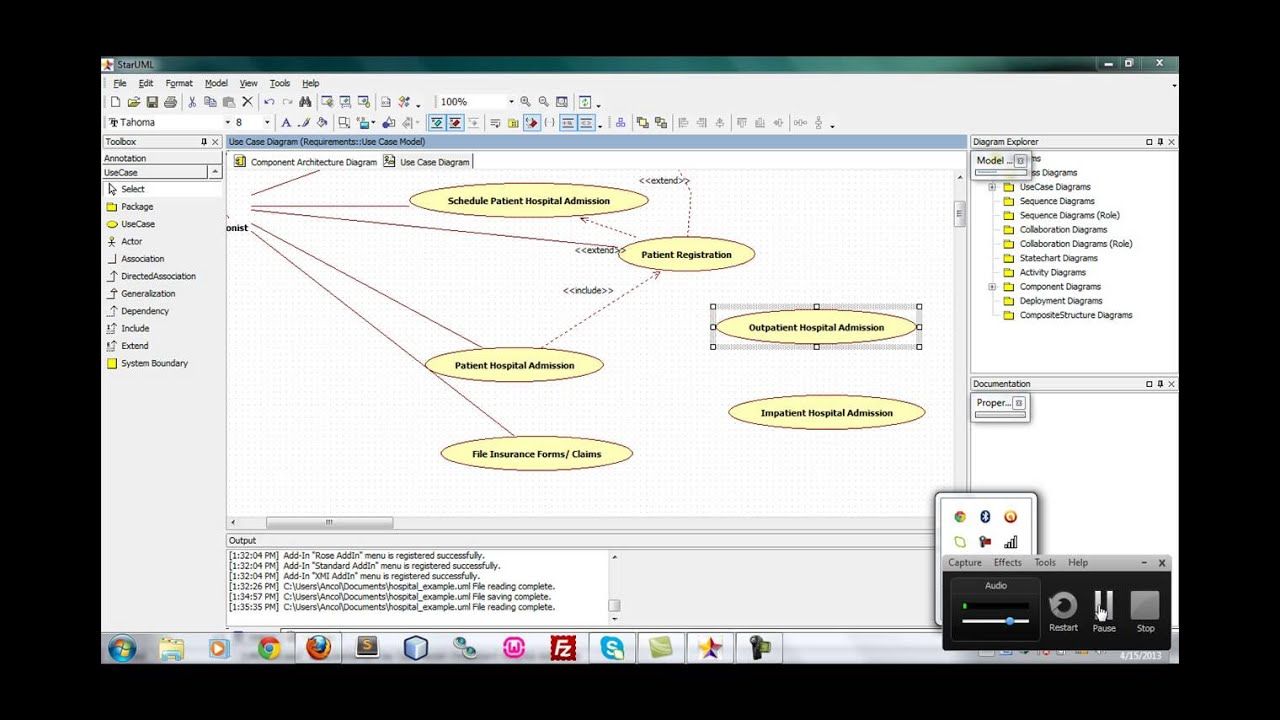 staruml usercase diagram hospital management   youtube