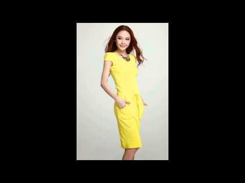 แฟชั่นชุดทำงานสวยๆ : ชุดเดรสสั้นเข้ารูป สีเหลือง