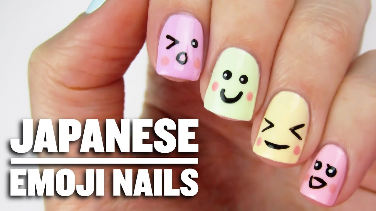 Cute Japanese Emoji Nails - YouTube