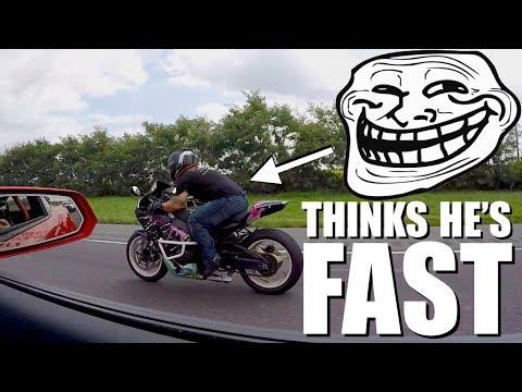 950hp Nitrous Camaro ZL1 Trolls A Honda Liter Bike!!!