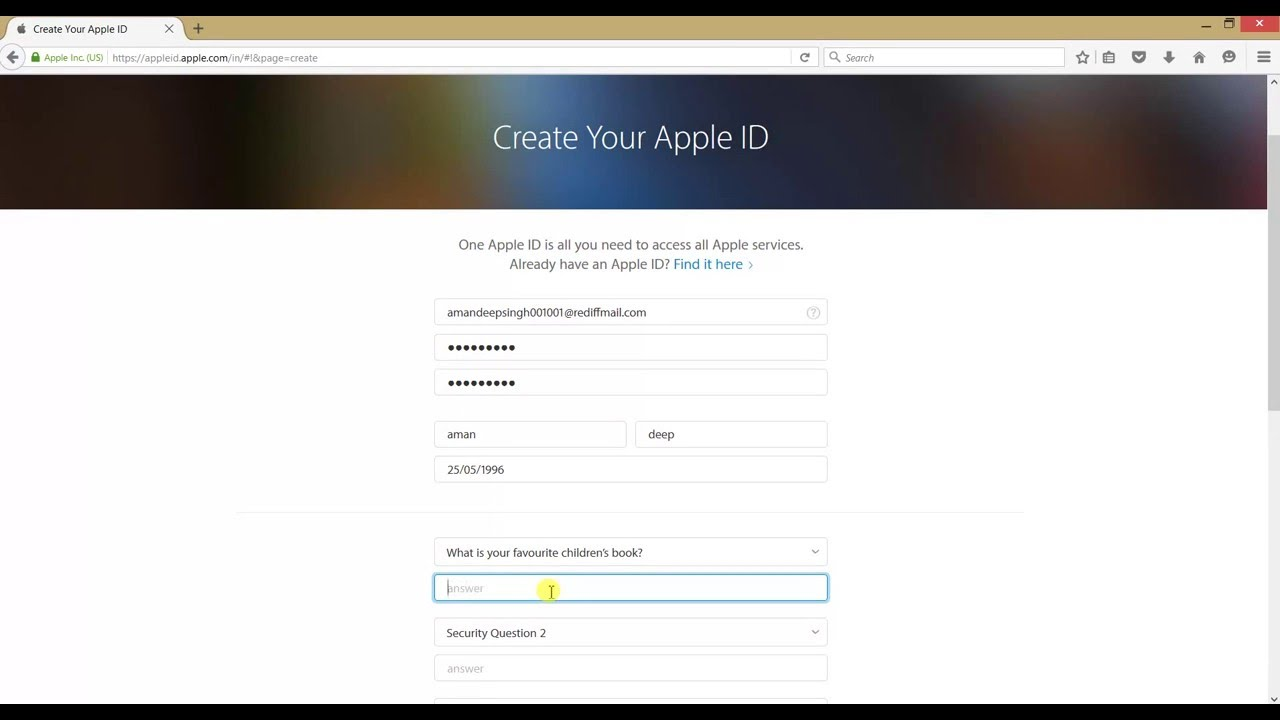 how to create apple id in computer or laptop without payment