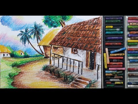 How to draw Landscape /scenery of beautiful nature.. step by step / landscape scenery for kids