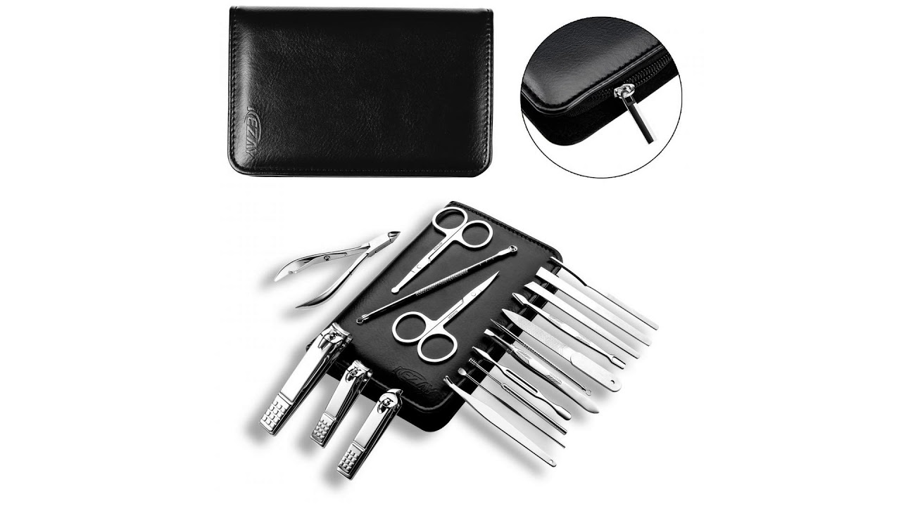 Manicure Pedicure Set Nail Clippers, KEZAY 18 Pcs Stainless Steel ...
