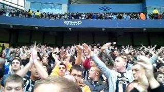 Newcastle fans interupting blue moon vs man city